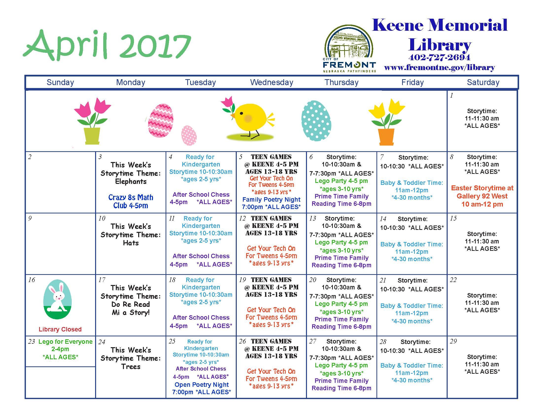 Calendar For Kids Activities : Kids activity calendar fremont ne official website