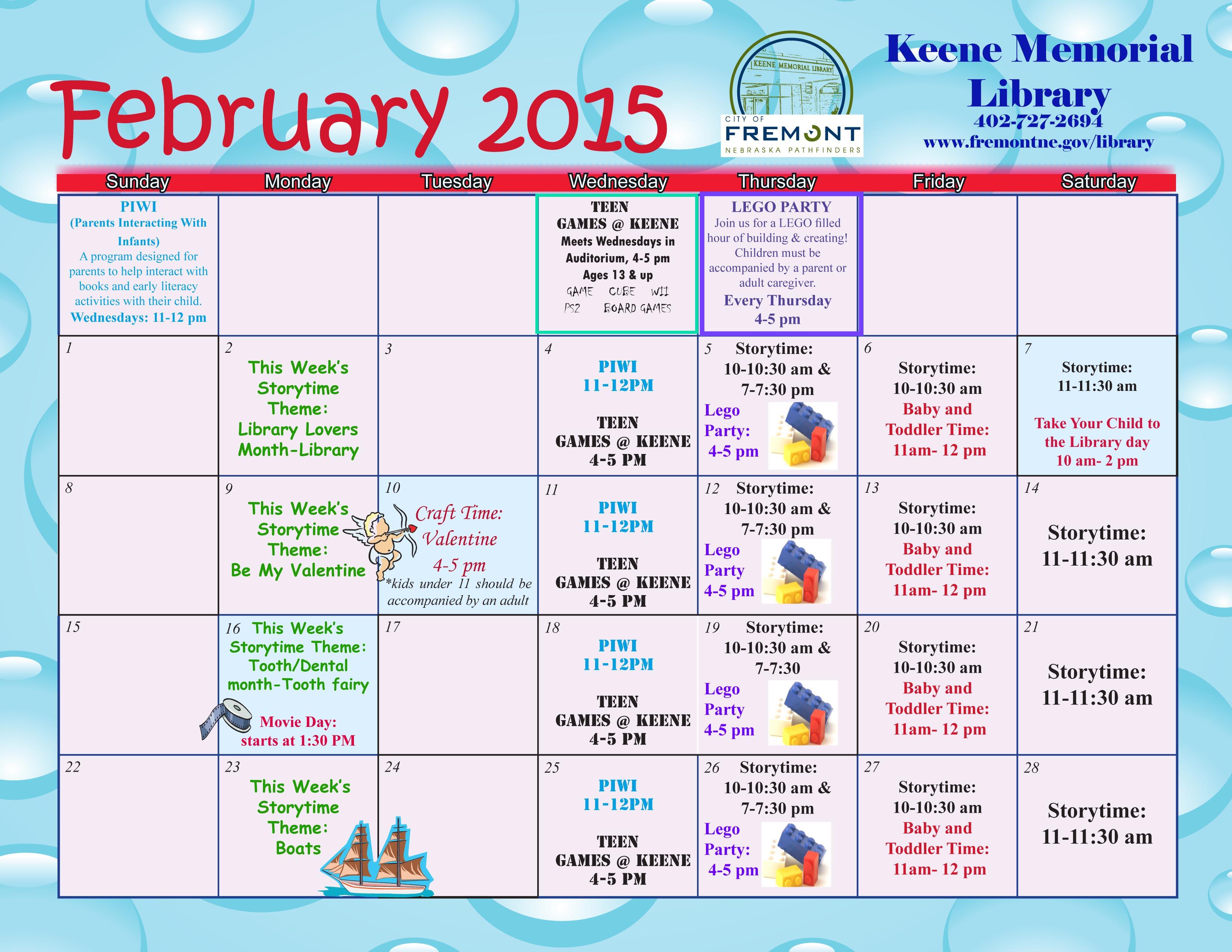 Calendar For Kids Activities : Fremont ne official website kids activity calendar
